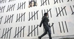 رسم جداري لبانكسي في نيويورك دعماً للصحافية التركية زهرة دوغان